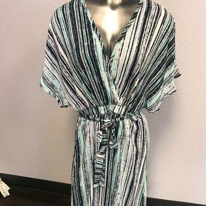 Maxi Dress Striped Womens V-Neck Short Sleeves